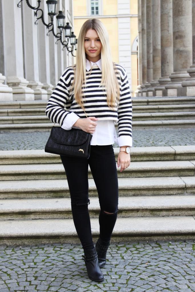 Franziska Elea Bluse unter Pulli Fashionblog aus München