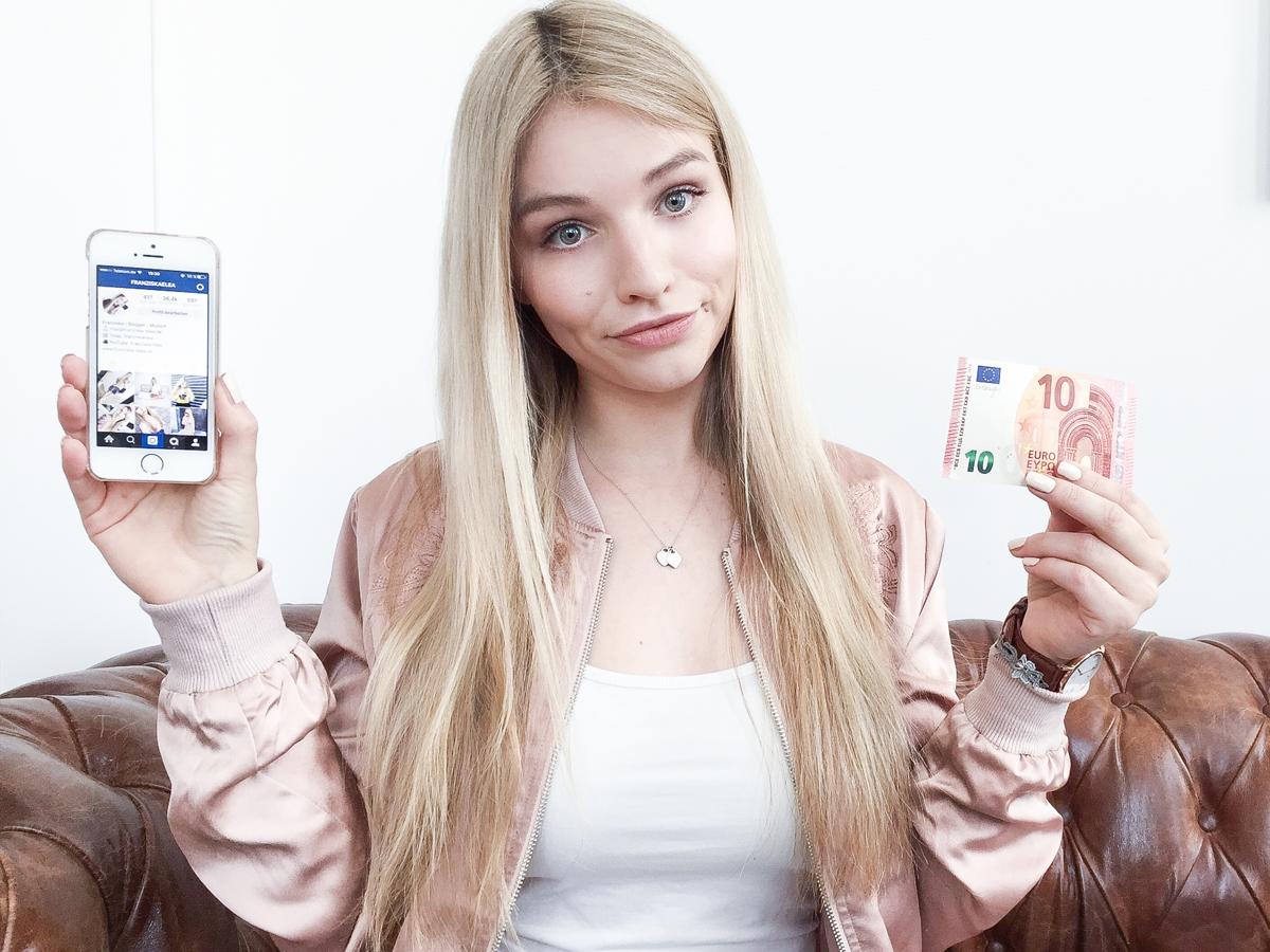 Franziska Elea Blogger Fashionblog Outfit Modeblog München deutsche Fashionblogger Influencer Follower kaufen Instagram Geld kostet Abonnenten bekommen rosa Bomberjacke iPhone SE