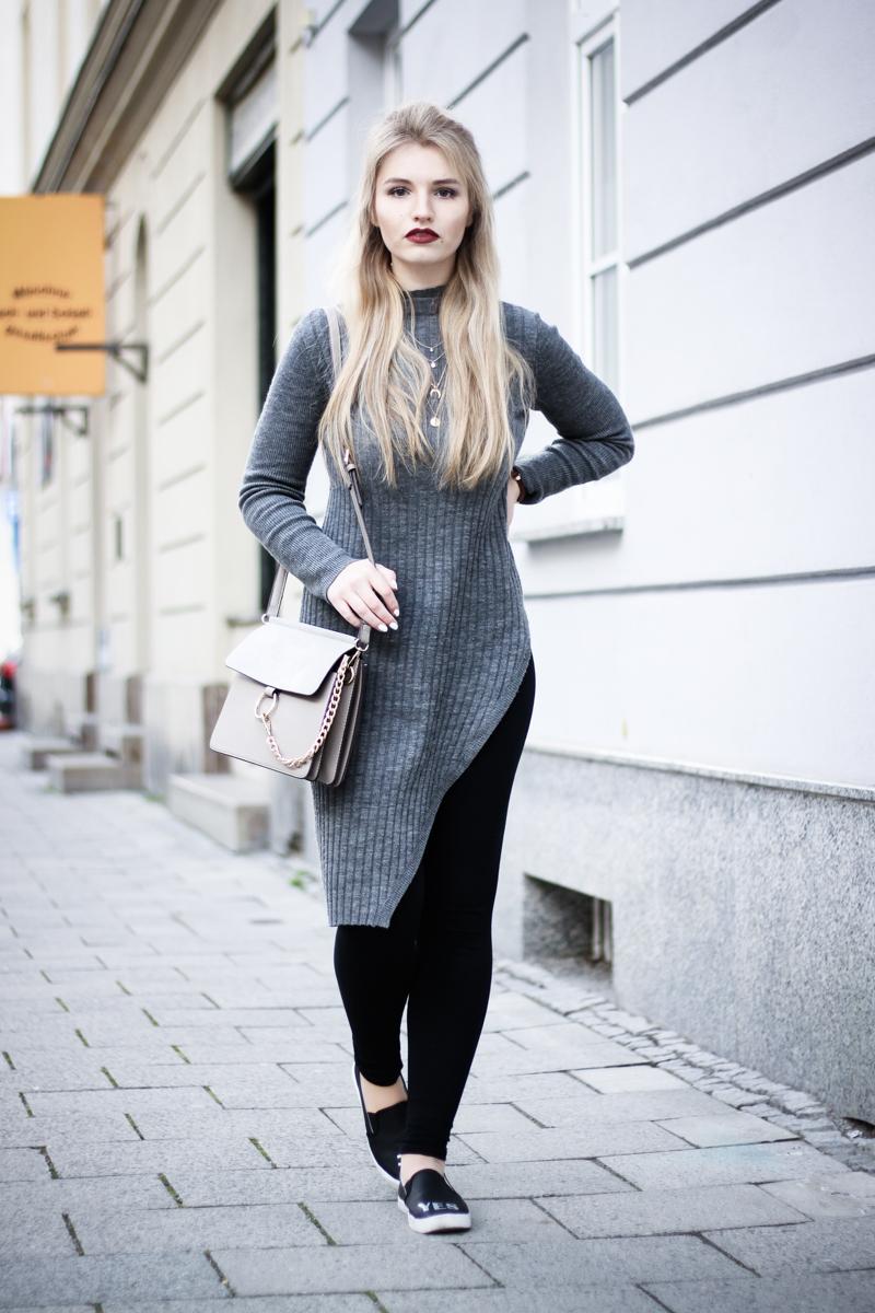 Franziska Elea Blogger Mode Lifestyle Beauty Fashionblog Outfit ootd Strickkleid Modeblog München Half Bun Frisur Streetstyle Deutschland deutsche Blogger
