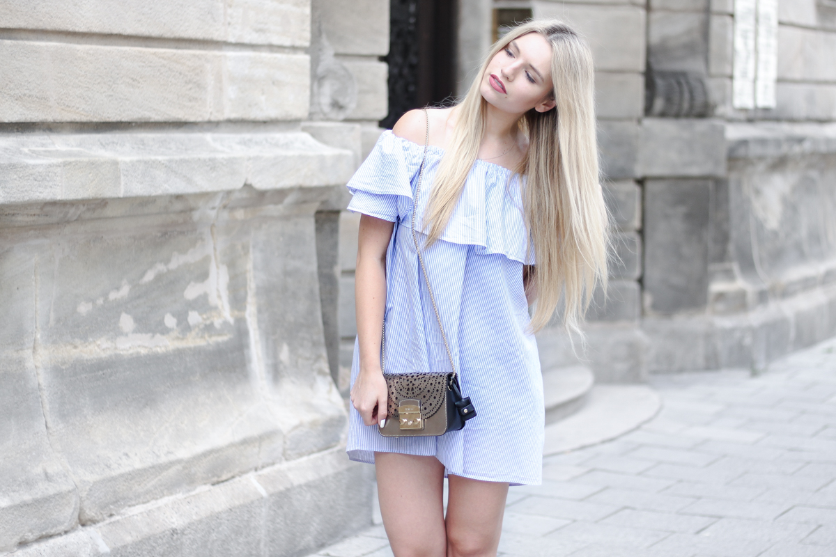 Franziska Elea deutsche Blogger München Modeblogger Instagram Off Shoulder Kleid Zara Furla Metropolis Fashionblog Blogger Geheimnis stylen
