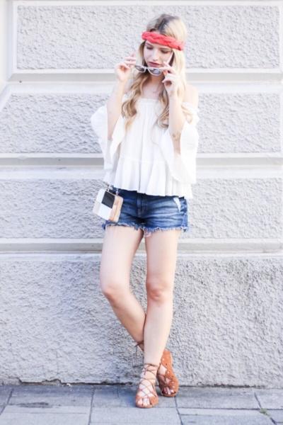 Franziska Elea deutsche Blogger Modeblog München Fashionblog Haarband Zara Off Shoulder schulterfrei Bluse Sommer Look Style Outfit
