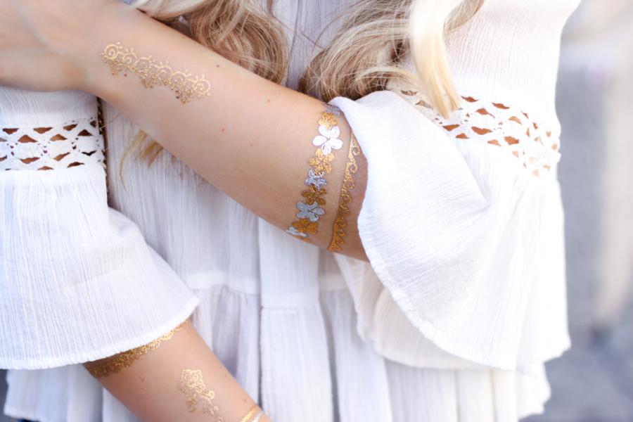 Franziska Elea deutsche Blogger Modeblog München Fashionblog Off Shoulder schulterfrei Bluse Sommer Look Style Outfit Flash Tattoos gold weiß