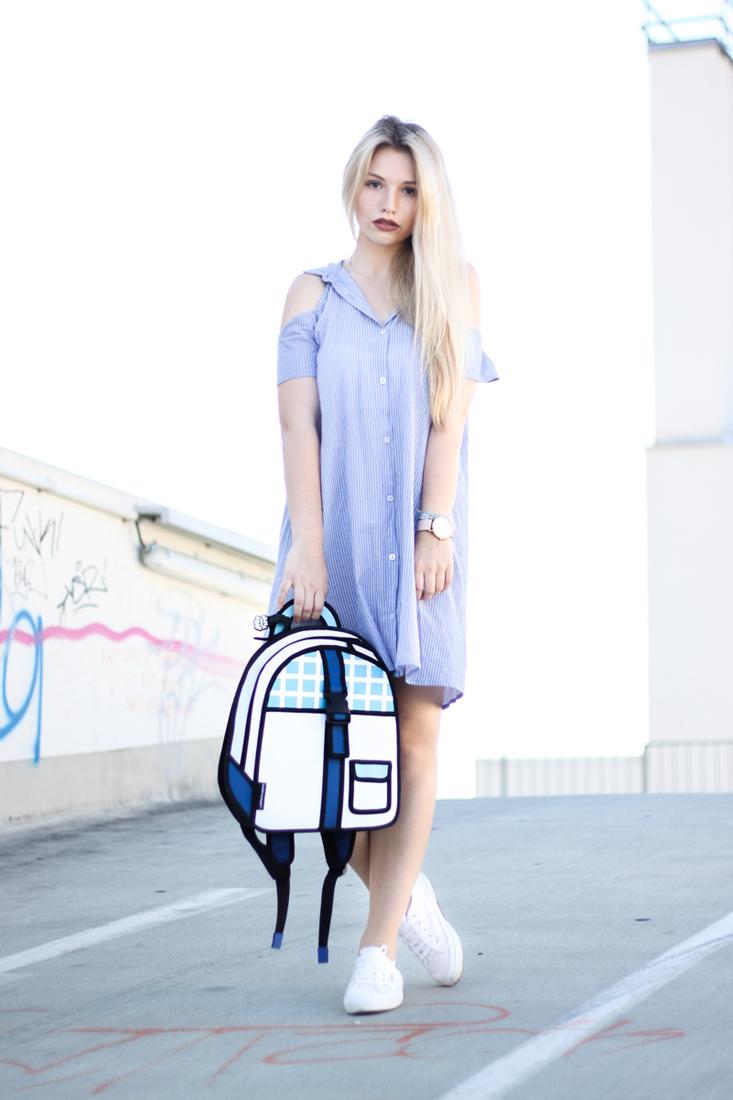 Franziska-Elea-deutsche-Blogger-Modeblog-Fashion-Blog-München-Kleid-Sommer-Bluse-Outfit-ootd-Sommerlook-Rucksack-Superga-Blusenkleid-Hemdkleid